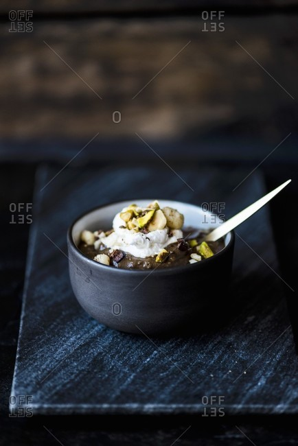 Vegan chocolate mousse with dukkah (a blend of nuts and spices)