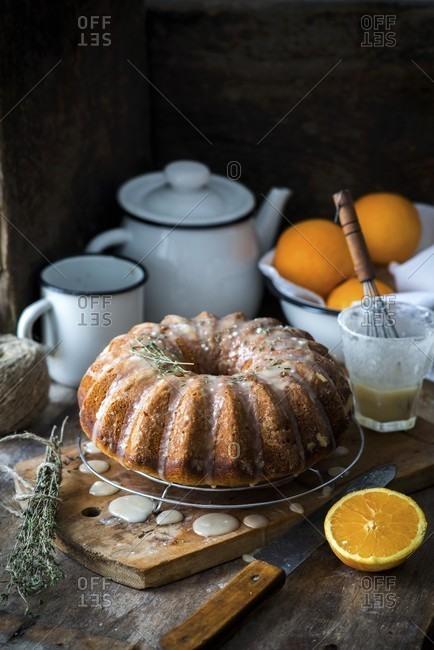 Orange and thyme bundt cake