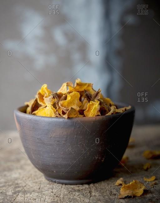 Pumpkin chips in a bowl