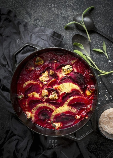 Beetroot with pineapple, sage, salt and blue cheese