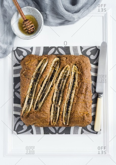 High fiber banana cake drizzled with honey