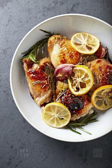 Lemon chicken with honey-soy sauce glaze