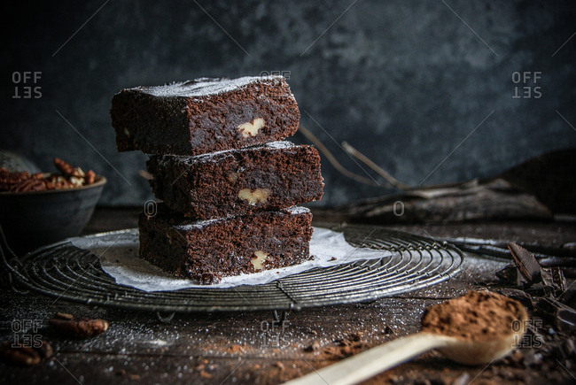 Delicious chocolate brownie with cooking ingredients