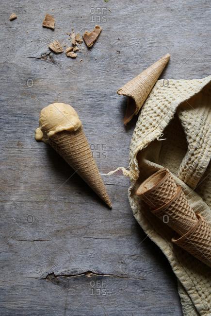 Tasty ice cream in crunchy sugar cone