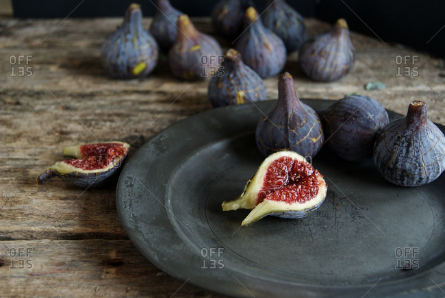 Bright ripe figs on plate