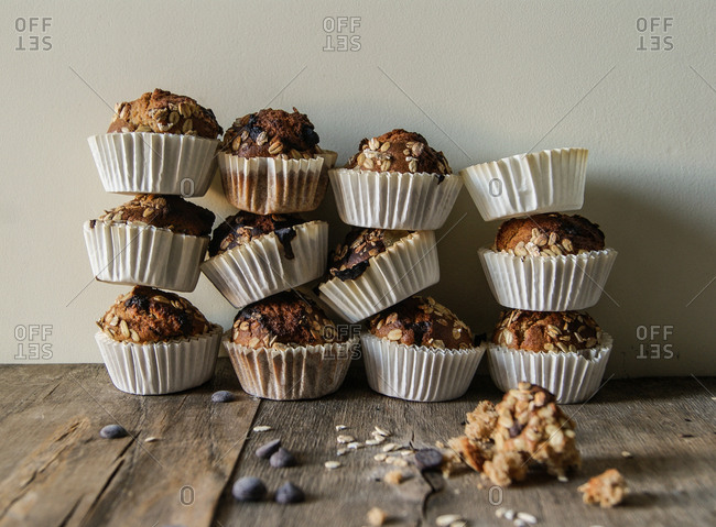 Delicious freshly baked spelt muffins on table