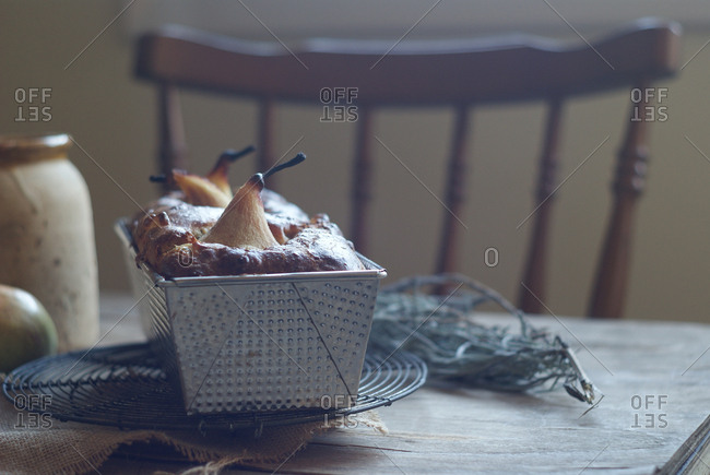 Freshly baked delicious pear pie