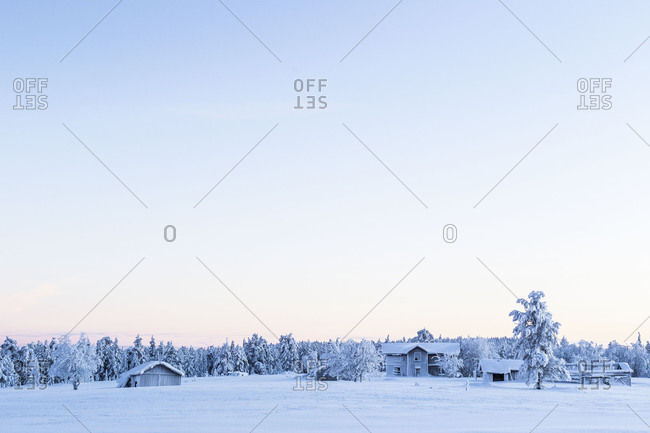 A snow covered field under a white sky during winter in Sweden