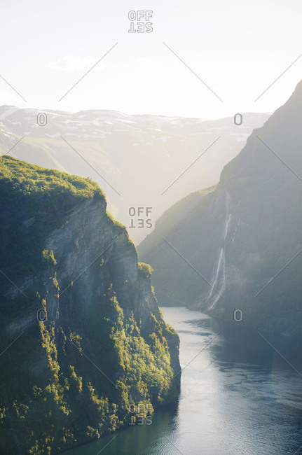 Scenic nature view of the river and mountains in Scandinavia