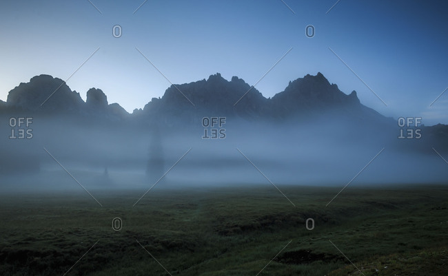 Morning mood in the foggy mountains