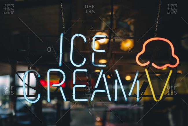 United States- neon advertising for ice cream