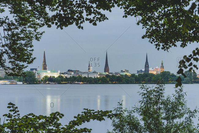 Germany- Hamburg- Outer Alster Lake with view to the city
