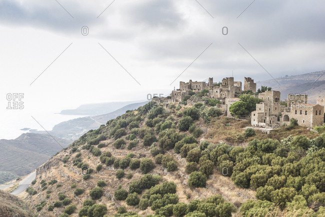 Greece- Peloponnese- Laconia- Vathia- village with typical tower houses