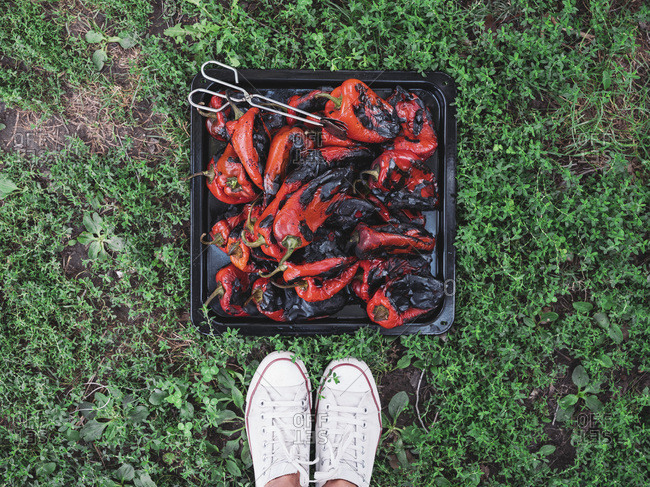 Grilled red bell peppers on a baking tray
