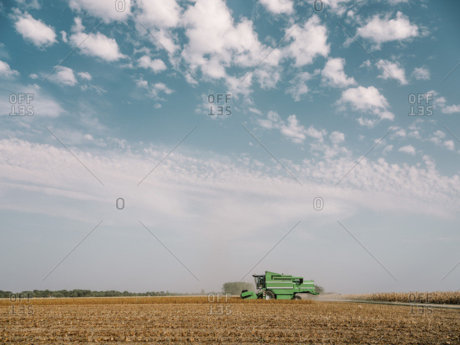 Serbia- Vojvodina- Combine harvester in soybean field