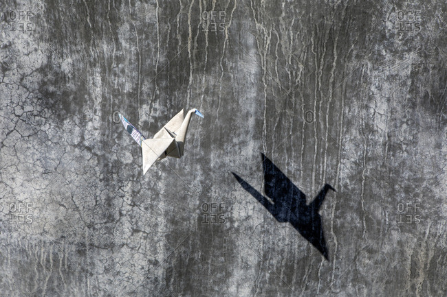 Origami crane flying- concrete wall