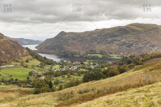 United Kingdom- England- Cumbria- Lake District- panoramic view of Glenridding and Ullswater lake