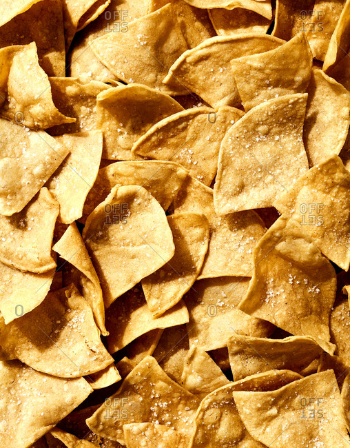 Close-up of homemade tortilla chips