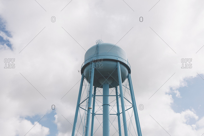 Blue water tower, sky and clouds in background, Saskatchewan, Canada