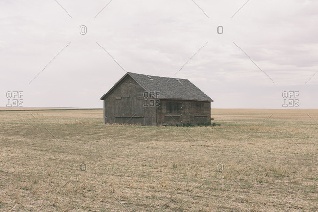Old barn and fallow field