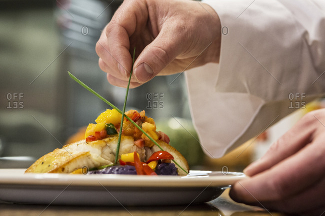 A close-up of the hands of a chef putting the final dressing on a plate of fish in a commercial kitchen,