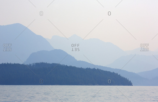 Scenic view of islands off the coast of Desolation Sound