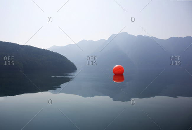 Crab trap marker floating in the water off the coast of Desolation Sound