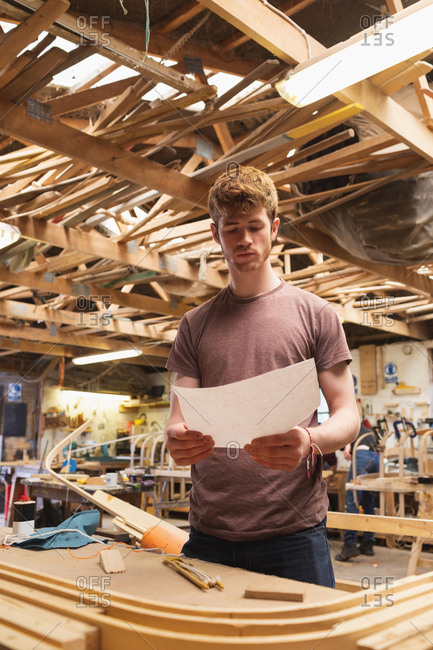 Young male carpenter looking at chart in workshop