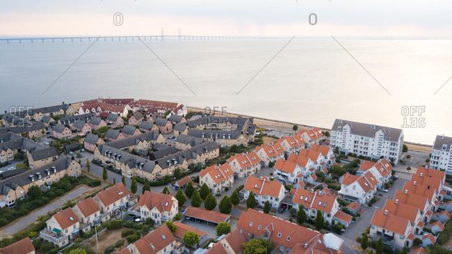 Aerial view of residential neighborhood in coastal town