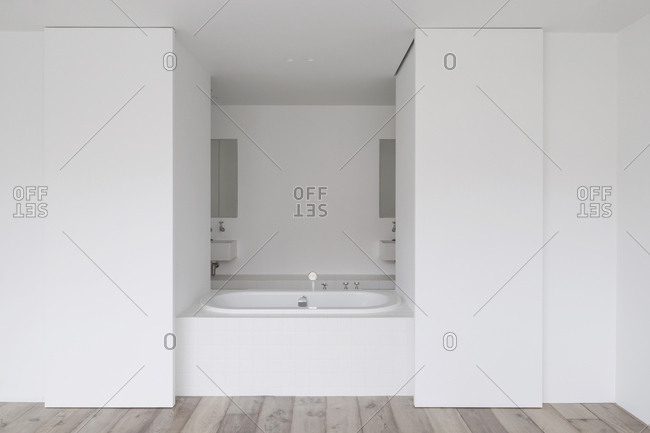 Bathtub and sinks in modern minimalist bathroom