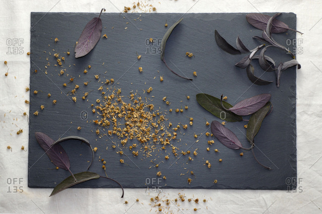 dried herbs on slate