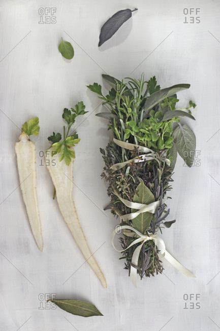 Herbal bunch with root vegetables