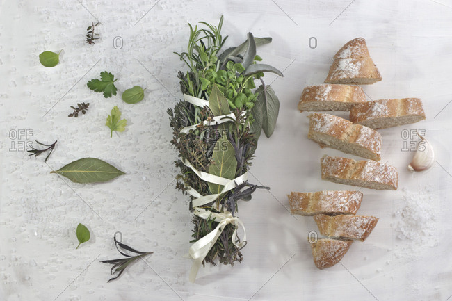 Herbal bunch with French baguette