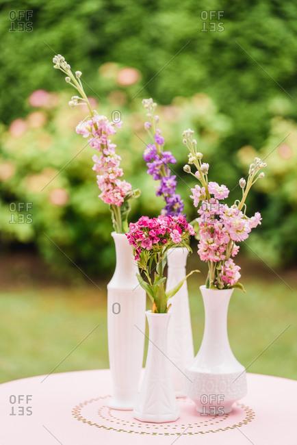 Garden table, flower vases,