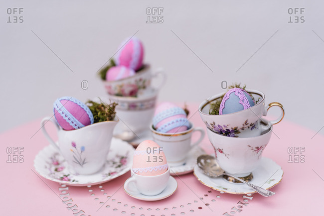 Easter decoration, coffee service, Easter eggs, lace,