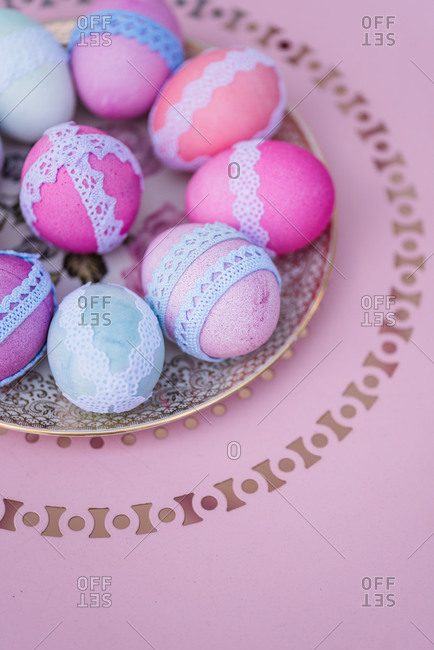 Easter decoration, plate, eggs, lace, bird's-eye view, detail,