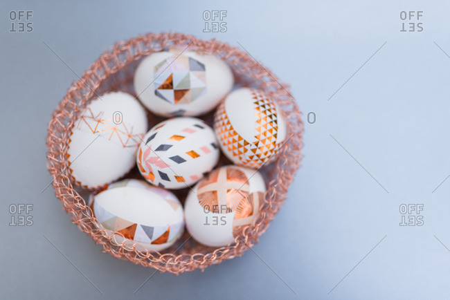 Easter eggs, ornaments, geometrical, copper, Easter nest