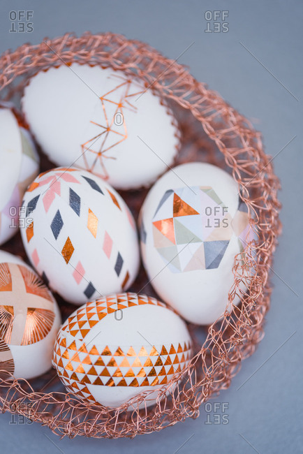 Easter eggs, ornaments, geometrical, copper, Easter nest, detail, close up,