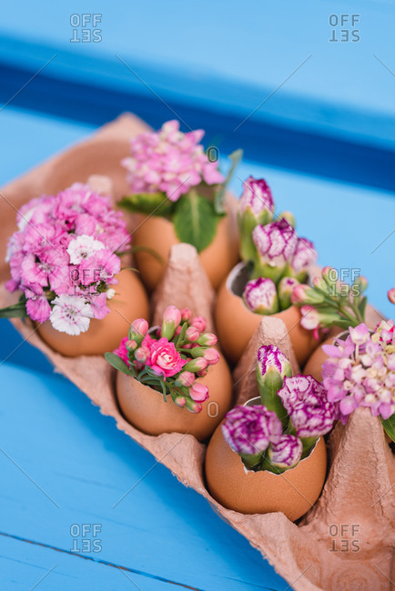 Flowers decorated in eggshells, Still life Easter