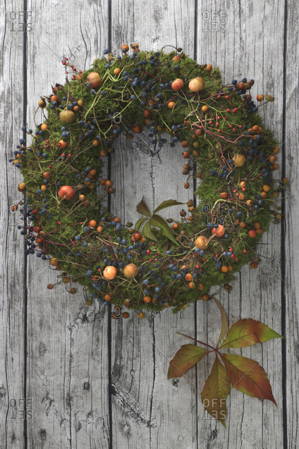 Wreath with wild fruits and berries
