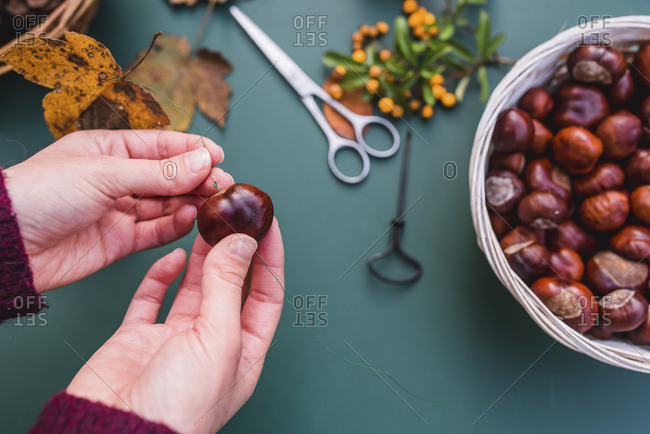 DIY, autumnal decoration, mobile, natural materials, crafting, women's hands, detail,