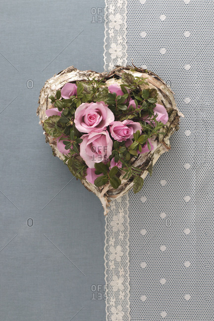 Decoration, heart with roses, vintage