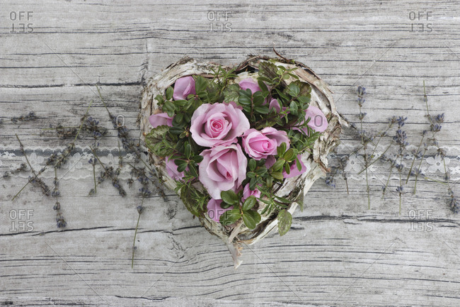 Decoration, heart with roses and lavender blossoms, vintage,