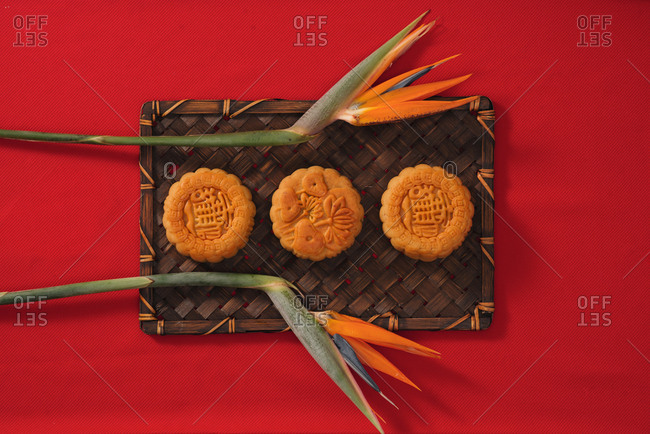 Moon cake for Mid autumn festival , Retro vintage style of Vietnamese traditional food and dessert.