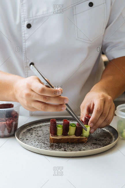 Chef preparing gourmet dish in a restaurant
