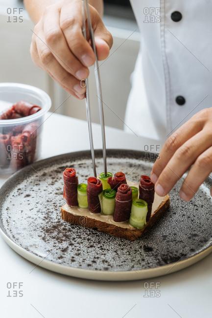 Chef preparing gourmet dish