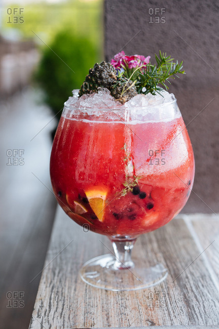 Fruity cocktail in a large glass