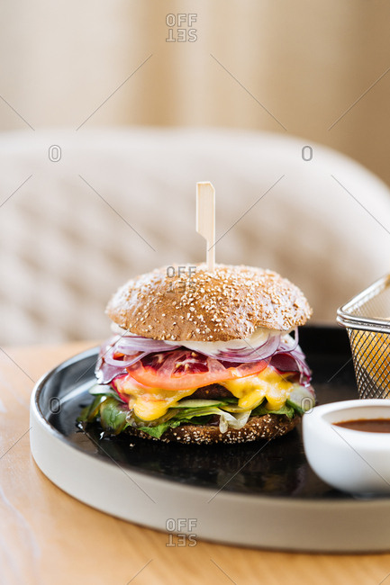 Gourmet burger served in a restaurant