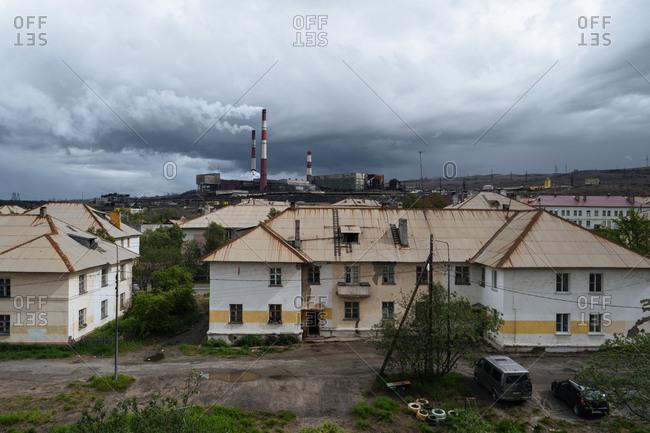 Dark clouds over buildings in Nikel, Murmansk Oblast, Russia