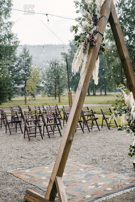 Country wedding ceremony set up on a rainy day